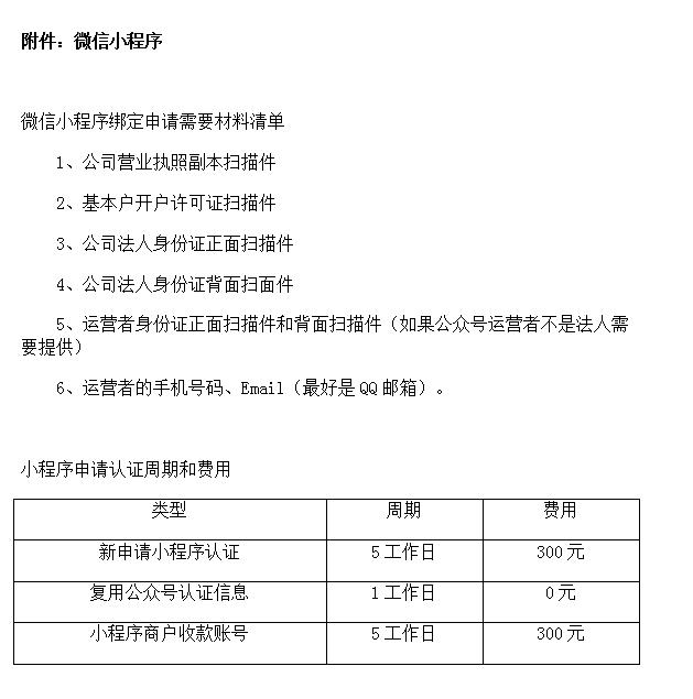 微信小程序申请材料
